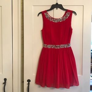 City Studio red dress with beads, size 1